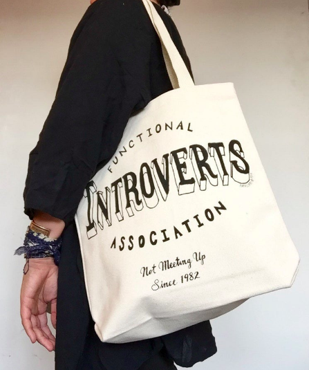 "bag that says ""functional introverts association"""
