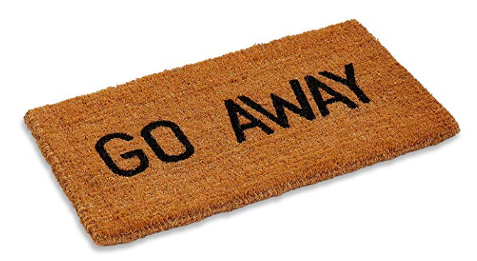 "welcome mat with ""Go Away"" text"
