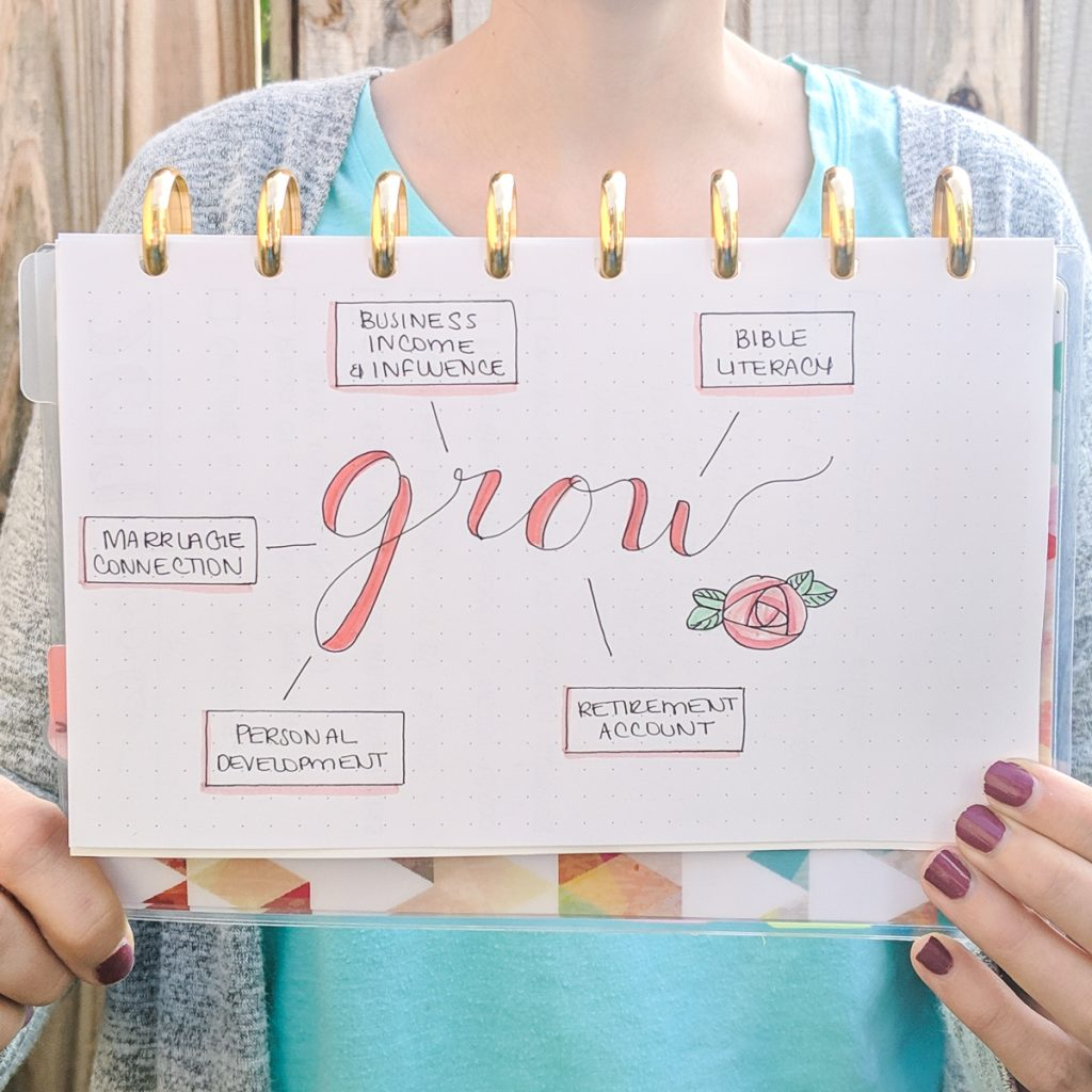 woman holding bullet journal spread with word of the year: grow