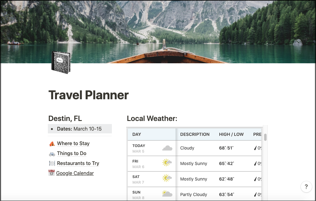 travel planner in Notion