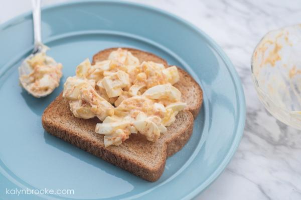 deviled egg sandwich on plate