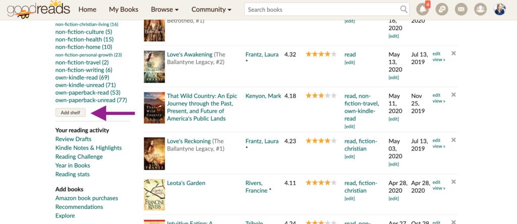 Goodreads shelves screenshot