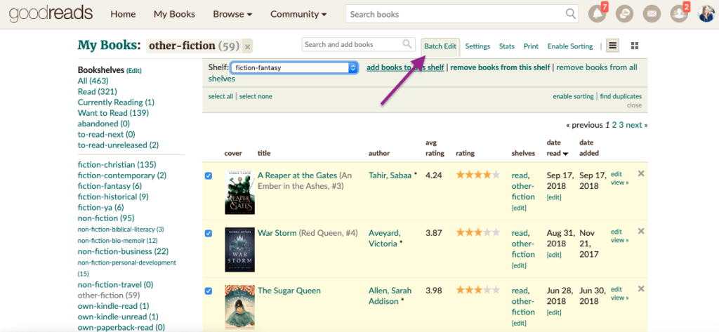 how to batch edit books on Goodreads