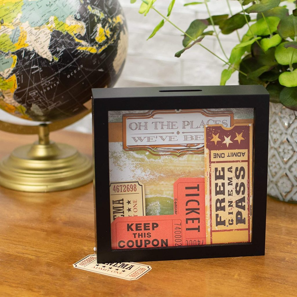 shadow box of mementos like movie tickets