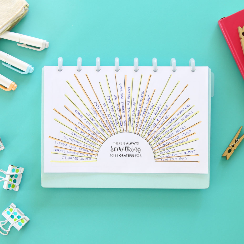 bullet journal gratitude log printable