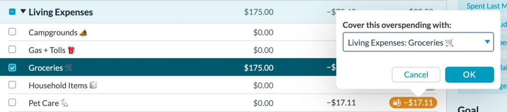 screenshot of YNAB screen with budget cateogires