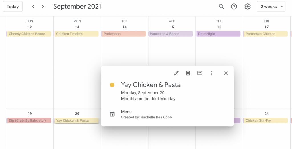 meal planning schedule in Google Calendar